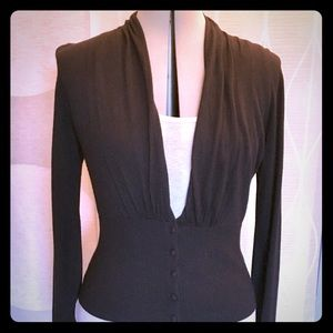 """WHBM"" Black silk blend cardigan sweater"